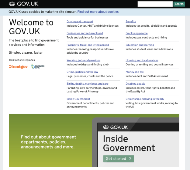 Gov.uk provides APIs and other data for transparency and consumption.